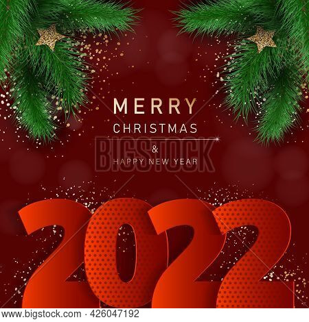 Glamorous Christmas banner with fir branches. Merry christmas and happy new year banner 2022.  Christmas background. Merry Christmas card with gold snowflakes vector Illustration. Merry Christmas card vector Illustration.Christmas. Christmas Vector.