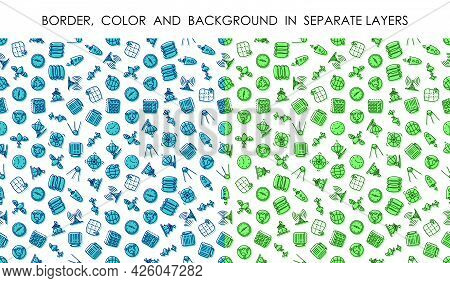 Set Of Seamless Patterns With Linear Icons Of Navigation And Data Transmission Technology. Ornament