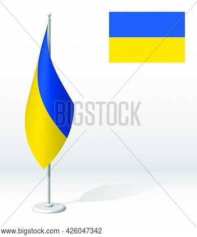 Ukraine Flag On Flagpole For Registration Of Solemn Event, Meeting Foreign Guests. National Independ