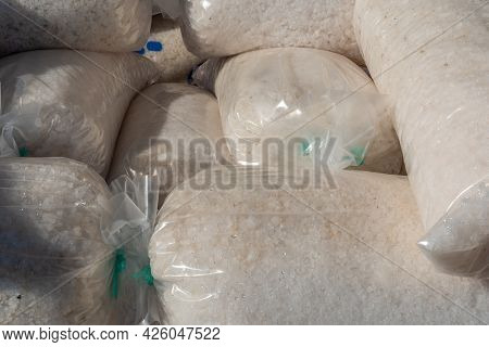 Traditional Salt Factory. Packaged Salt Ready To Distribute