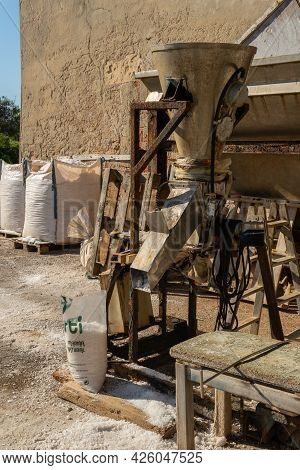 Colonia De Sant Jordi, Spain; July 02 2021: Traditional Salt Factory Located In The Majorcan Town Of