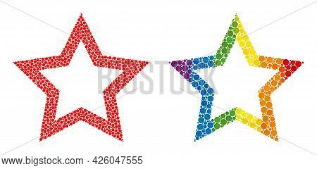 Contour Star Composition Icon Of Circle Elements In Different Sizes And Spectrum Colorful Color Tone