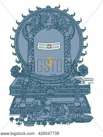 Sketch Of Lord Shiva And Symbols Outline Editable Illustration