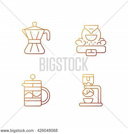 Coffee Making Appliance Gradient Linear Vector Icons Set. Moka Pot. Professional Commercial Roaster