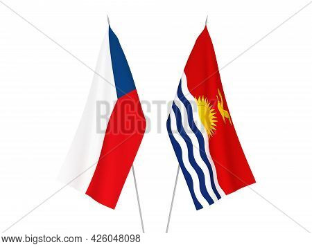 National Fabric Flags Of Republic Of Kiribati And Czech Republic Isolated On White Background. 3d Re