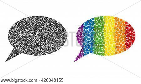 Forum Message Mosaic Icon Of Circle Spots In Various Sizes And Rainbow Colorful Shades. A Dotted Lgb