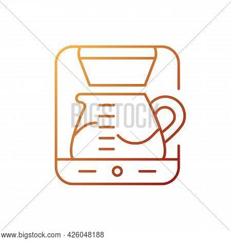Drip Machine Gradient Linear Vector Icon. Automatic Cafe Appliance For Espresso Preparation. Barista