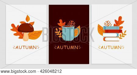 Set Of Autumn Poster Or Postcard Template With Autumn Symbols. The Autumn Season Is Open. Autumn Pos