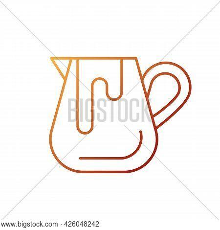 Milk Jug Gradient Linear Vector Icon. Equipment For Coffee Shop And Cappuccino Preparation. Barista