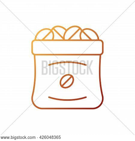 Coffee Sacks Gradient Linear Vector Icon. Roasted Beans In Bag For Commercial Production. Barista Ac