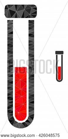 Triangle Blood Test-tube Polygonal Icon Illustration. Blood Test-tube Lowpoly Icon Is Filled With Tr