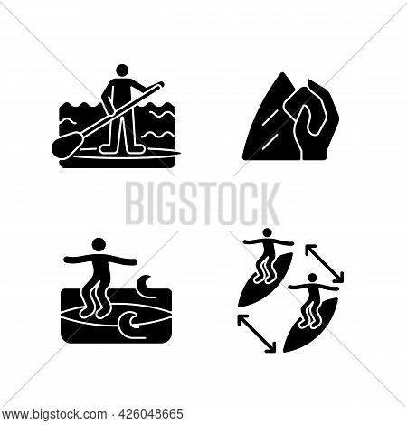 Riding Waves In Ocean Black Glyph Icons Set On White Space. Paddle Board Surfing. Surfboard Wax. Nos
