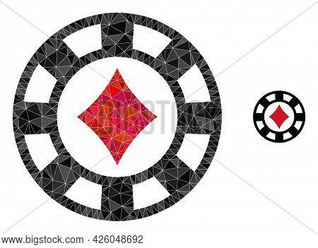Triangle Diamonds Casino Chip Polygonal Icon Illustration. Diamonds Casino Chip Lowpoly Icon Is Fill