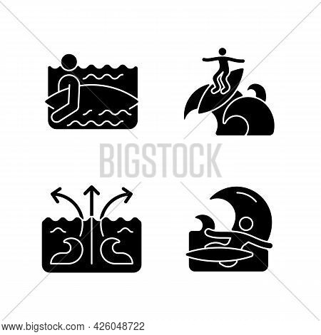 Riding Wave Using Board Black Glyph Icons Set On White Space. Entering Water. Floater Technique. Rip