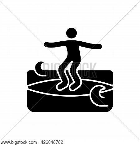 Crumbly Waves Surfing Black Glyph Icon. Learning Surfing Tricks On Mushy Waves. Beginner Friendly Co