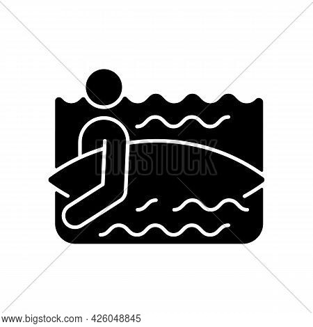 Surfer Entering Water Black Glyph Icon. Surfing For First Time. Choose Surf Spot. Holding Board Corr