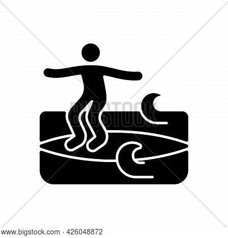 Noseriding Surfing Technique Black Glyph Icon. Performing Maneuver On Head-high Waves. Glide Across