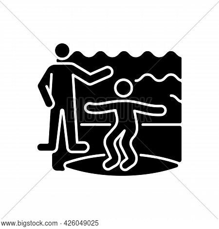 Surfing Lessons Black Glyph Icon. Taking Surf Classes From Experienced Surfer. Learning Process. Stu