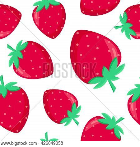 Seamless Pattern With Strawberries, Vector Illustration. Red Whole Strawberries In Different Sizes.