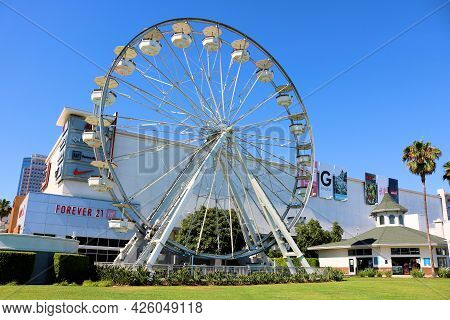 July 6, 2021 In Long Beach, Ca:  Vintage Wooden Carousel Built During 1920 Taken At The Pike Outlets