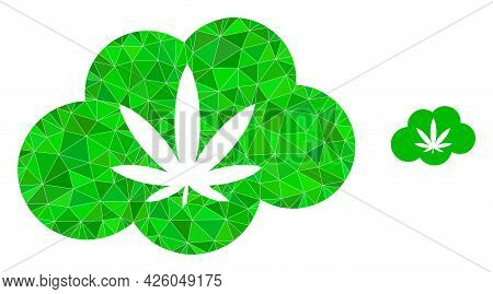 Triangle Cannabis Smoke Polygonal Icon Illustration. Cannabis Smoke Lowpoly Icon Is Filled With Tria