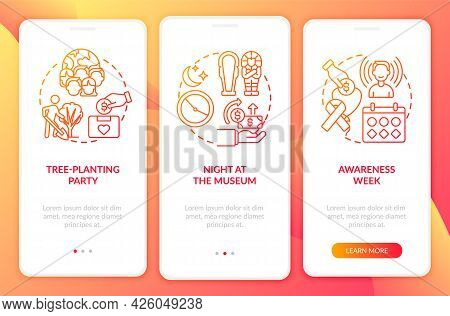 Charity Fundraising Events Onboarding Mobile App Page Screen. Awareness Week Walkthrough 3 Steps Gra
