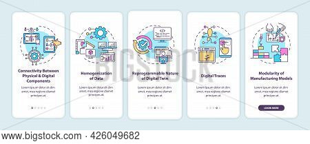 Digital Twin Characteristics Onboarding Mobile App Page Screen. Connectivity Walkthrough 5 Steps Gra