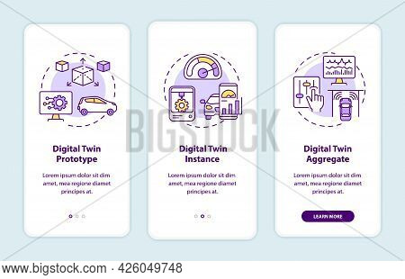 Digital Twin Types Onboarding Mobile App Page Screen. Automation Prototype Walkthrough 3 Steps Graph