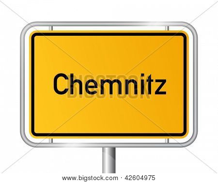 City limit sign Chemnitz against white background - signage - Saxony - Sachsen, Germany