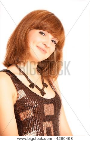 Smiling Woman Portrait, Isolated