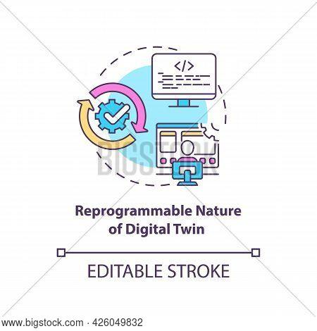 Reprogrammable Nature Of Digital Twin Concept Icon. Digital Twin Characteristics. Smart Technologies