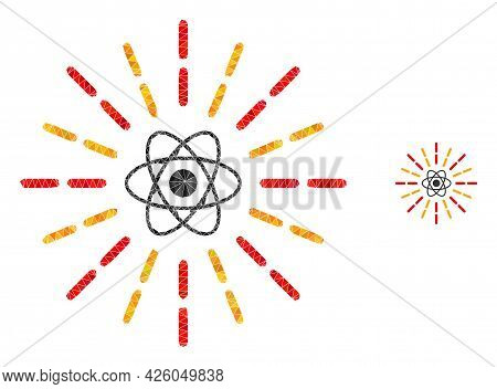 Triangle Atomic Radiation Polygonal Symbol Illustration. Atomic Radiation Lowpoly Icon Is Filled Wit