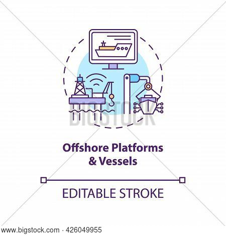 Offshore Platforms And Vessels Concept Icon. Digital Twin Application By Industry. Smart Technologie