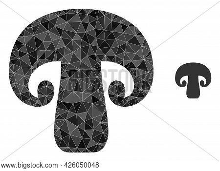 Triangle Champignon Mushroom Polygonal Icon Illustration. Champignon Mushroom Lowpoly Icon Is Filled