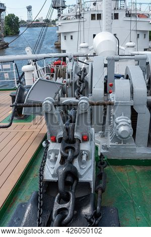Mooring Winches On The Deck Of A Container Ship, Equipment On The Deck Of A Ship.