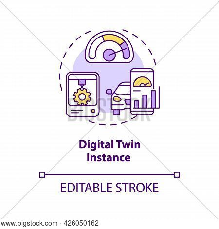 Digital Twin Instance Concept Icon. Tests On Different Usage Scenarios. Innovative Technologies Abst