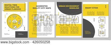 Digital Twin Solutions For Urban Planning Brochure Template. Flyer, Booklet, Leaflet Print, Cover De
