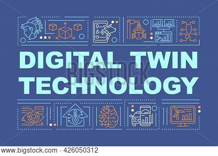 Digital Twin Technology Word Concepts Banner. Smart Systems. Infographics With Linear Icons On Navy