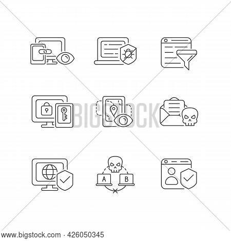 Internet Surveillance Linear Icons Set. Cross-device Tracking. Anti-malware. Multi-factor Authentica