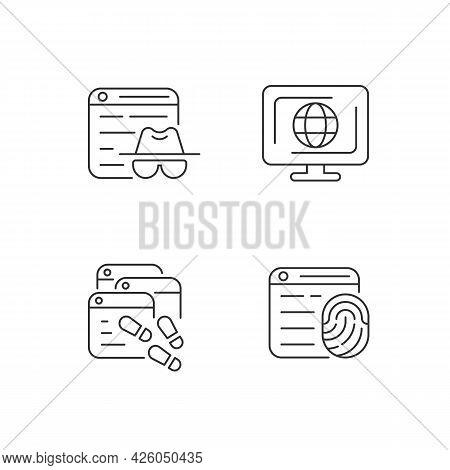 Online Censorship Linear Icons Set. Private Browsing. Digital Trail. Browser Fingerprinting. Customi