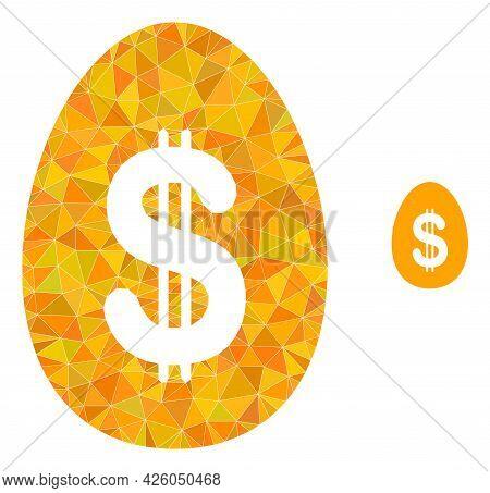 Triangle Dollar Deposit Egg Polygonal Symbol Illustration. Dollar Deposit Egg Lowpoly Icon Is Filled