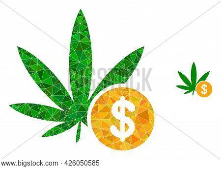 Triangle Cannabis Investing Polygonal Icon Illustration. Cannabis Investing Lowpoly Icon Is Filled W