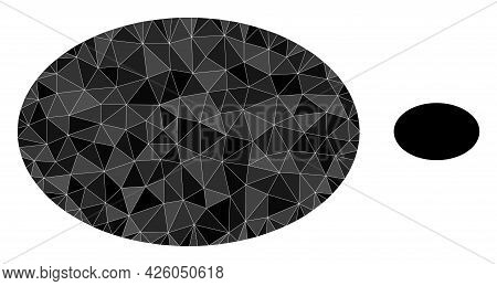 Triangle Ellipse Polygonal Icon Illustration. Ellipse Lowpoly Icon Is Filled With Triangles. Flat Fi