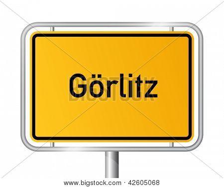 City limit sign Goerlitz against white background - signage - Saxony - G�¶rlitz, Sachsen, Germany