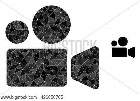 Triangle Cinema Camera Polygonal Symbol Illustration. Cinema Camera Lowpoly Icon Is Filled With Tria