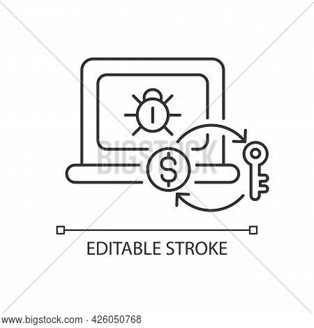 Ransomware Linear Icon. Encrypting Victim Files, Demanding Payment. Malicious Software. Thin Line Cu