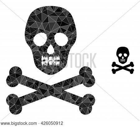 Triangle Death Skull Polygonal Symbol Illustration. Death Skull Lowpoly Icon Is Filled With Triangle