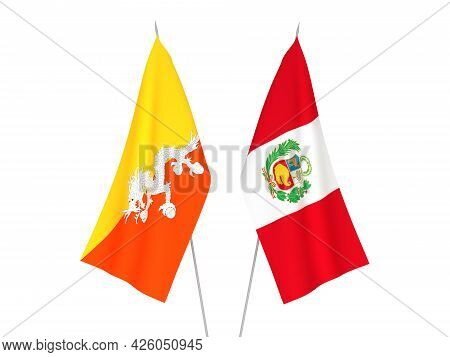 National Fabric Flags Of Peru And Kingdom Of Bhutan Isolated On White Background. 3d Rendering Illus