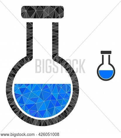 Triangle Analysis Flask Polygonal Symbol Illustration. Analysis Flask Lowpoly Icon Is Filled With Tr