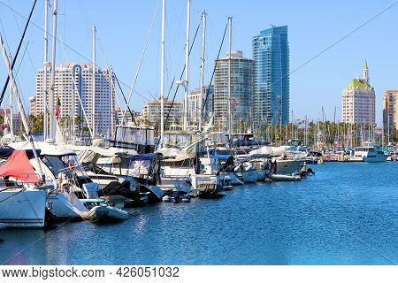 July 6, 2021 In Long Beach, Ca:  Sail Boats And Yachts Docked At The Long Beach, Ca Marina With The